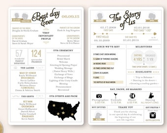Printable - Infographic wedding program, customizable