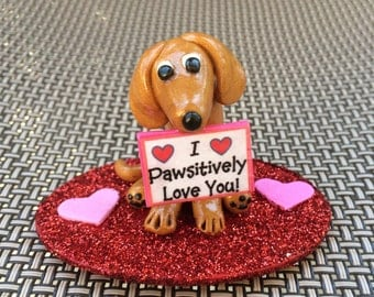 I pawsitively love you! Red Dachshund Doxie figurine