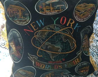 Vintage Black Velvet 1964-65 New York World's Fair Pillow Cover  B539