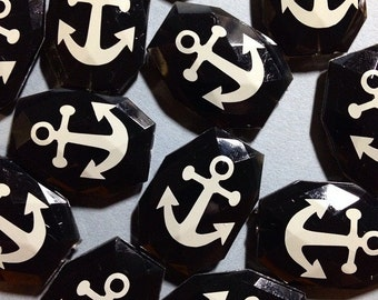 Black Bead / White Anchor - 16 Color Choices! Faceted, Gorgeous Beads - Pick your and color!