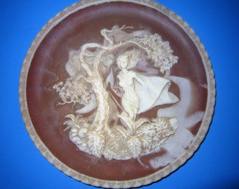 Phantom of Delight Sculptured Plate, Baroque Cameo Art Plate, Romantic Poets Collection, Incolay Stone