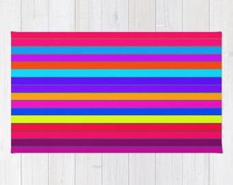 Area Rug, Bright Rug, Rainbow Striped Rug, Woven Area Rug, Colorful Rug, Striped Rug, 2x3 Rug, 3x5 Rug, 4x6 Rug , Accent Rug
