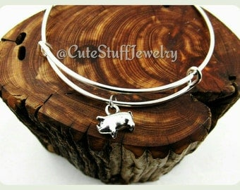 3d Pig Bracelet, Pig Bangle, Silver Piglet Bracelet, Handmade Pig Jewelry, Farm Bracelet, Farm Animal Jewelry, Piggy