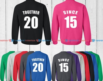 TOGETHER SINCE 2015  - Matching Couple Shirts - His and Her T-Shirts - Love Tees
