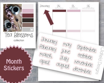 Month Stickers -  Planner Stickers - January February March April May June July August September October November December - Tea Blossoms
