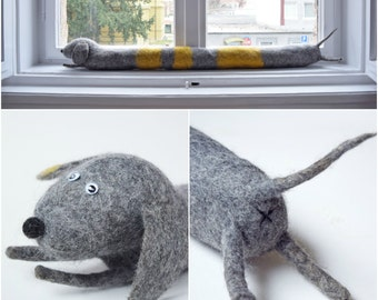 Felted striped dog draught excluder / draft dodger / window / door draft stopper - sausage dog, dachshund