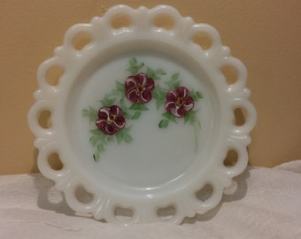 Reticulated Milk Glass Plate with Handpainted Purple Pansies