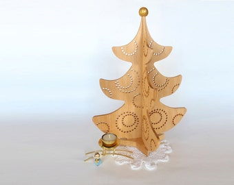"""Wooden Christmas tree """"Missy"""" Tabletop Christmas tree Christmas table centerpiece 15 in, GOLDEN GLITTERING TOP"""