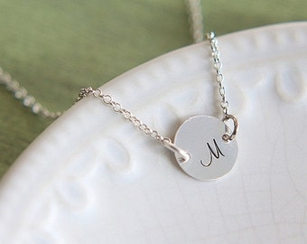 SALE Sterling silver Initial Necklace, Hand Stamped Necklace, Personalized Initial Necklace, Personalized Jewelry, Celebrity Inspired Jewelr