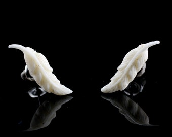 "Hand Carved- ""Feather"" - Bone Stud Earring - American Frontier"