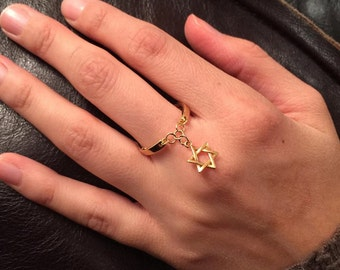 Star of david ring, star of david gold ring, magen david chain ring, jewish star of david ring,  jewish jewelry
