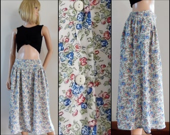 Womens floral button front full skirt summer ditsy floral midi French skirt size M/L