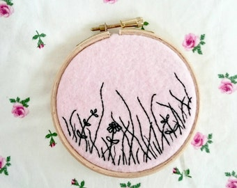 meadow hand embroidered hoop
