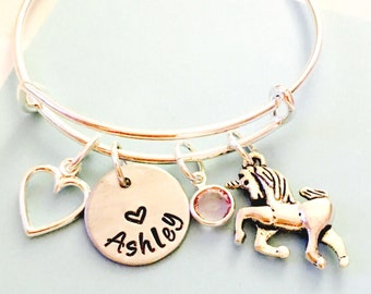 Unicorn Bracelet, Silver, Personalized Unicorn Bracelet, Unicorn Jewelry, Little Girl Charm Bracelet, Young Girl Jewelry, Unicorn Bangle