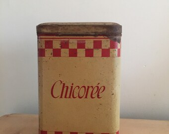 1930s Chicorée (coffee) tin cannister french kitchen decor