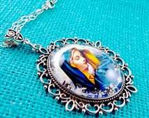 Sorrowful Mother Necklace Virgin Mary Cabochon Necklace Sorrowful Mother Pendant Stainless Steel Chain Pouch Gift Box Fast Ship 4Q