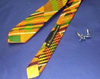 Mens Kente Print Skinny Tie