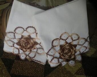 Brown and Cream Crochet Rosette Pillowcases