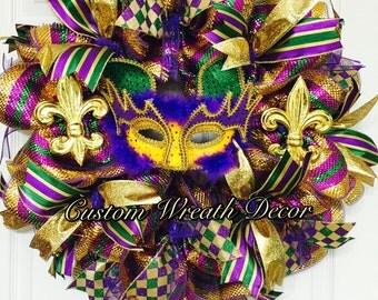 Mardi Gras Wreath, Mardi Gras Mask, Mardi Gras Deco Mesh Wreath, Mardi Gras Decor, Masquerade Wreath, Fat Tuesday Wreath, Festival Wreath