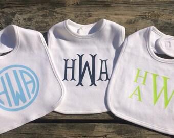Set of 3 Personalized Monogram Baby Bibs, Custom Monogram Bib Set