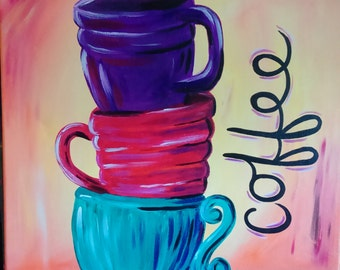 Latte Love Acryllic Painting