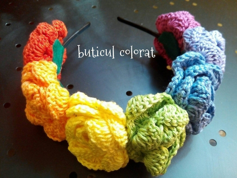 Crochet Flower Girl Crown Tutorial : Rainbow flowers crown Crochet flower headband girls gifts