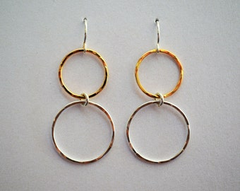 Hammered Two-Tone Double Circle Earrings
