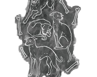 dogs with bones print
