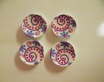 4 Large Flower Buttons - #WS-00032