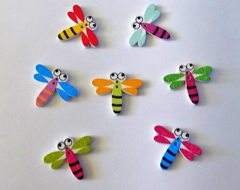 7 Wooden Dragonfly Buttons - #SB-00223