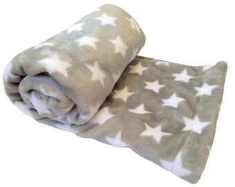 Minky Baby Blanket, Gray Stars Baby Blanket, Stroller Blanket, Crib Blanket, Carseat Blanket, baby Lovey, Nursery Blanket, Free Ship