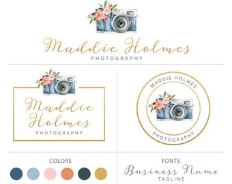 Premade logo package camera logo watercolor logo gold logo branding flower logo photography logo branding set elegant logo