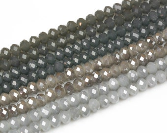 8mm Gray Crystal color Rondelle-1 or 10 STRAND