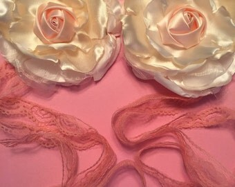 2 satin rose flower wedding tieras