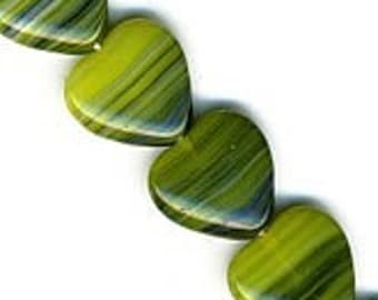 Vintage blue and Green Heart glass Beads. 10mm. Pkg of 10. b11-gr-0764(e)