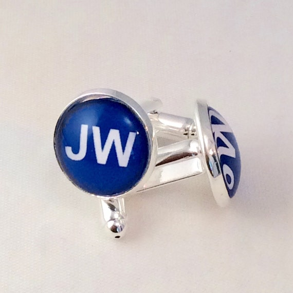 JW Cufflinks 14 mm Circle Glass.  Blue velvet gift pouch included.