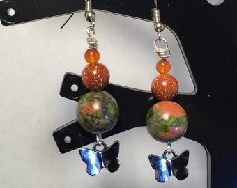 Unakite, Goldstone and Silver Earrings