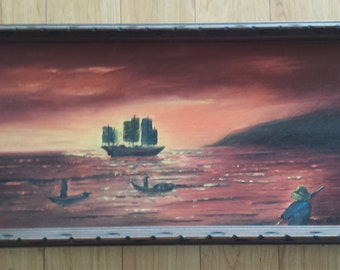 SALE Mid Century Asian Sea Boat Fishing Scene Original Painting Carved Wood Frame Wall Art