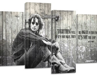 John Lennon/Quote/set of 4 canvas prints stretched on wooden bars