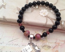 Prayer Bracelet, Bible Bracelet, Black Onyx Bracelet, Womens Bracelet Reiki Jewelry