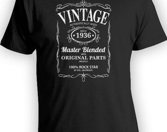 Vintage Whiskey Label Birthday Shirt Born 1936 - Celebrating 80th Birthday, Gifts for Him, Gifts for Grandpa, Gifts for Dad Bourbon CT-1025