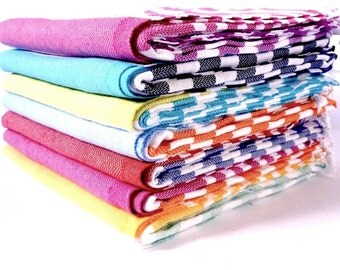 Set of 5 Traveller Towels - 100% Cotton, Turkish Towel, Beach Towel, Bath Towel and Travel Towel