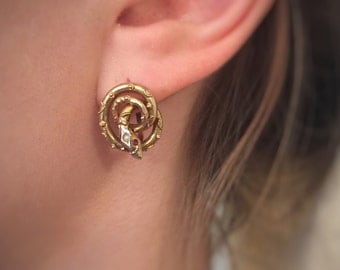 Victorian 15 Carat Gold Coiled Snake Earrings