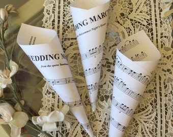 """12 Music Wedding Toss Cones, """"Here Comes The Bride"""" Sheet Music, by Wagner, """"Recessional"""" by Mendelsohn, Paper, Large  8"""""""