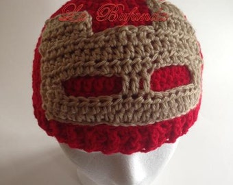 Ironmen - Advengers Crochet Red Hat, Kids Beanie, Earflap Crochet Hat, Inspired Character Beanie, Kids and Adults Red Hat