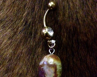 Gold Crazy Lace Agate Belly Button Ring
