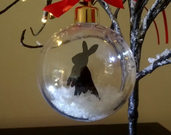 Rabbit Silhouette in the Snow Acrylic Bauble can be Personalised