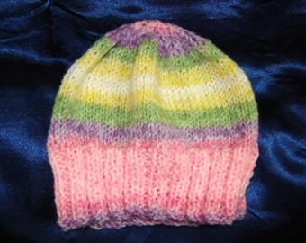 Striped Knit Newborn Baby Hat in Pink, Purple, Green and Yellow - Baby Shower Gift - Gift for Baby - Hats for Baby