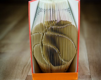 BASKETBALL silhouette folded book art-Personalized unique Anniversary Gift- book origami - made to order - Sport - E252