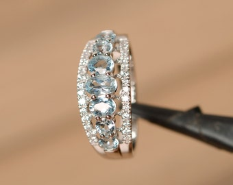 natural aquamarine ring silver multistone ring gemstone blue